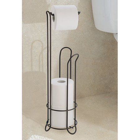 interdesign classico toilet paper roll holder with stand black