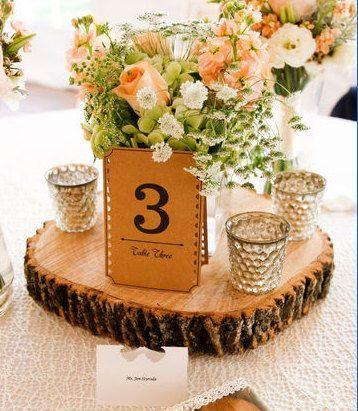 2f1fd80224f28b3691381d4fd692e2a1 Wooden Wedding Centerpieces Wood Centerpieces Wood Slab Centerpiece