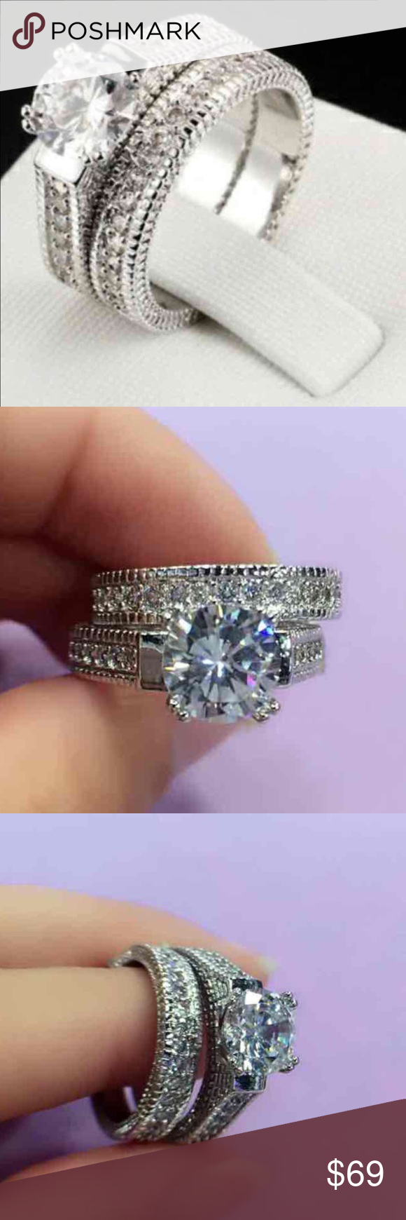 18 k white gold wedding ring set new Brand new 18 k white gold filled with lab created diamonds engagement wedding ring set . Also have in my listing I have other engagement ring and wedding ring set, wedding band, rose gold ring, yellow gold ring, wedding ring set, Men's wedding band, wedding ring. Available in all sizes. Swarovski Jewelry Rings