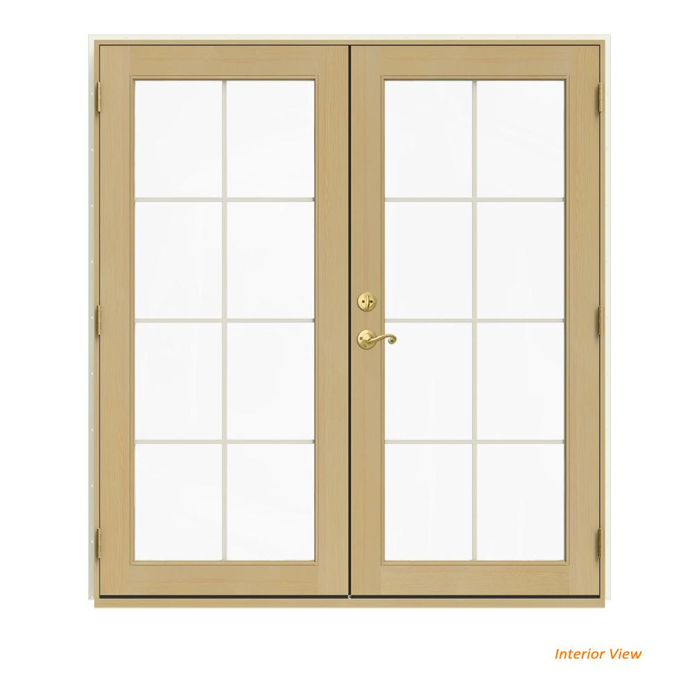 Jeld Wen 72 In X 80 In W 2500 Vanilla Clad Wood Left Hand 8 Lite French Patio Door W Unfinished Interior White French Doors Patio Interior Barn Door Hardware Patio Doors