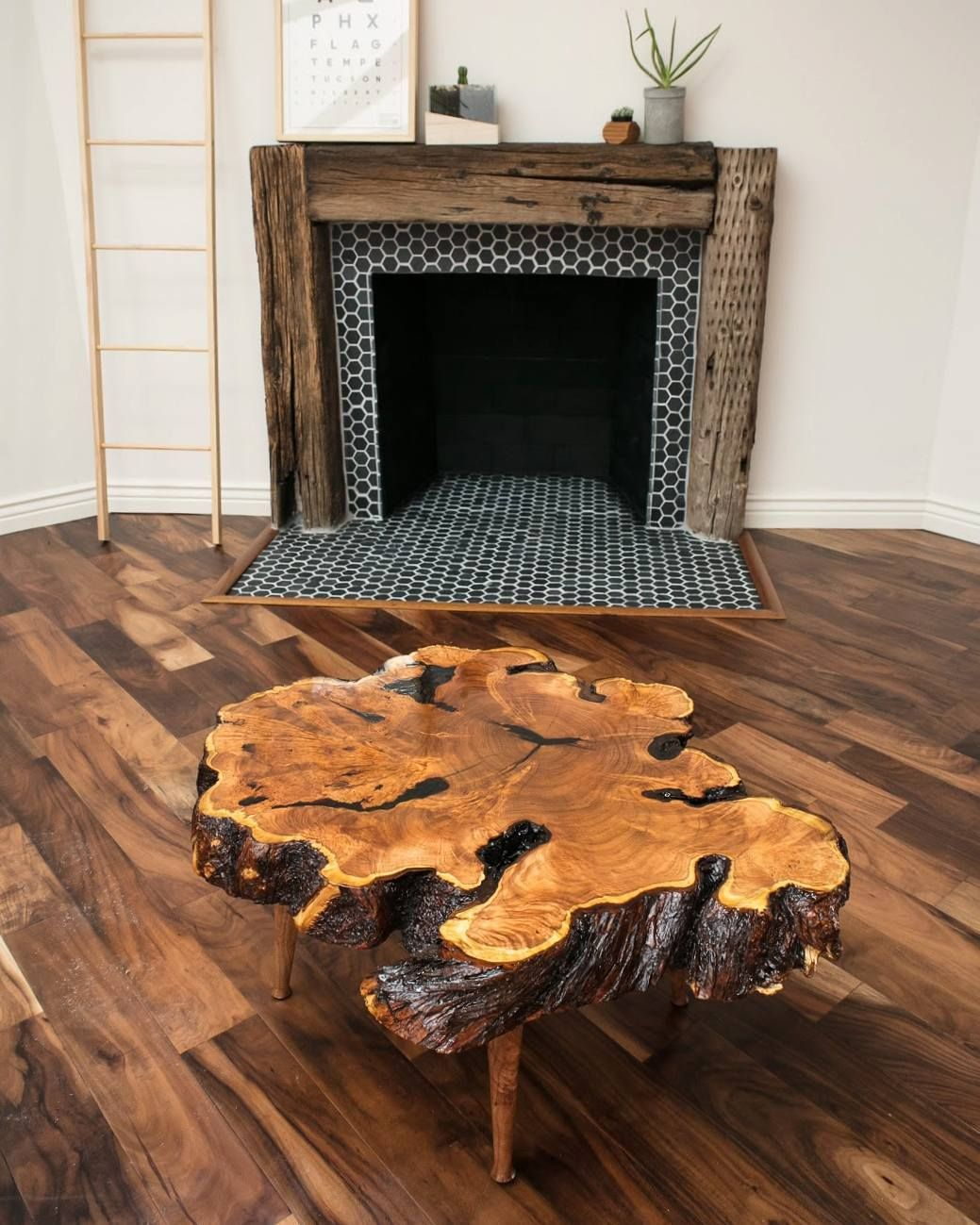Custom 34 Mesquite Burl End Grain Live Edge Coffee Table With Matching Lathe Turned