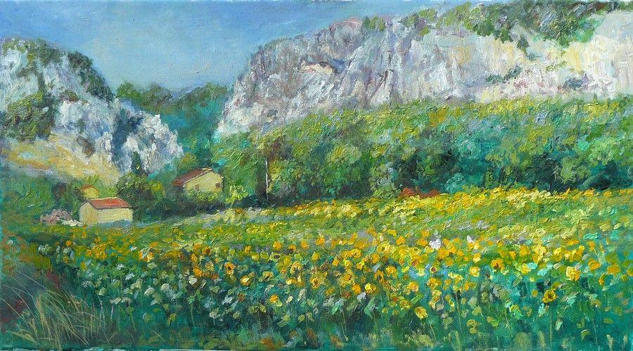 tournesols quinson-tableau paysage-peintre paysagiste-peinture ...
