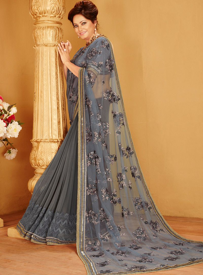 c47a316e2e Gray Net Party Wear Saree 94325 | Net Saree | Saree, Indian bridal ...