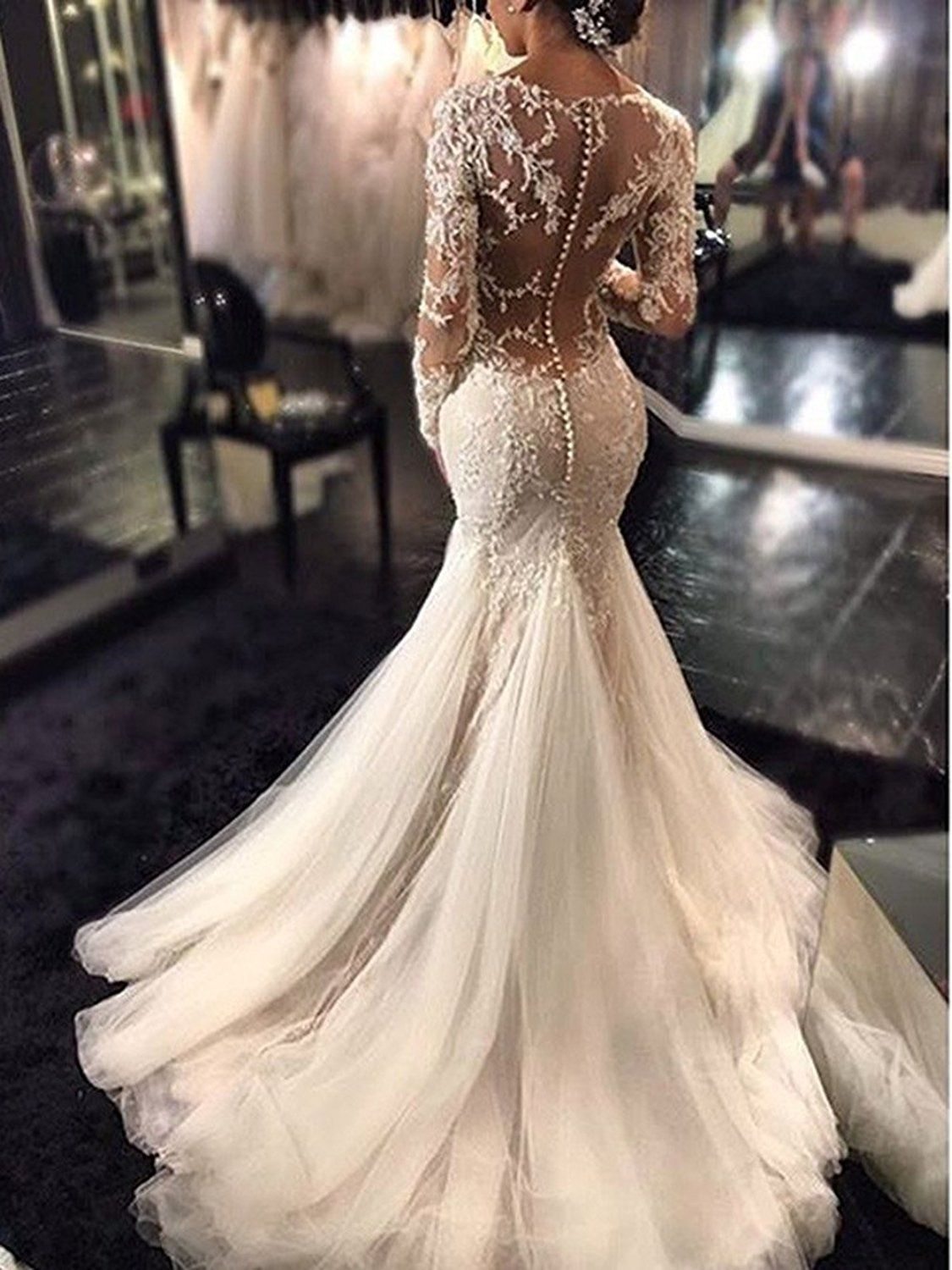 f49e6acb49  159 - Fashion bride Women s See Through Back Long Sleeve Mermaid Wedding  Dress 2018 Bridal Gowns at Amazon Women s Clothing store
