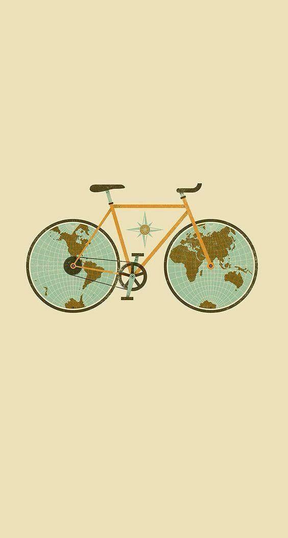 Circle Bike World Bicycle Illustration Funny Iphone Wallpaper