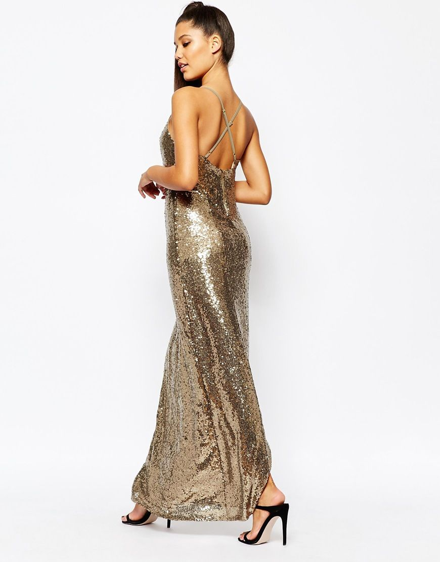 Gold maxi dresses for prom pinterest sequin maxi missguided