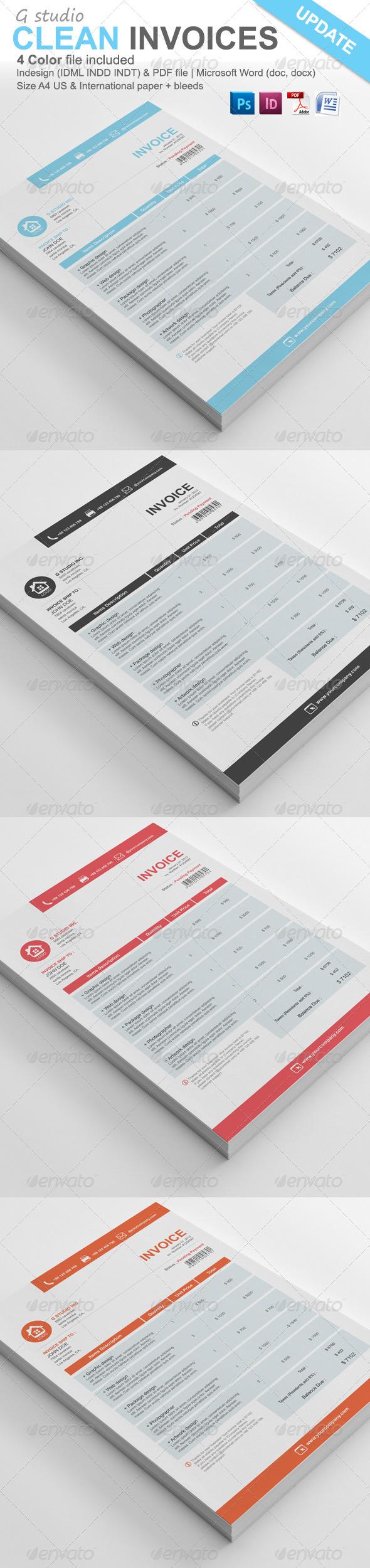 Gstudio Clean Invoices Template Con Imagenes Disenos De Unas Diseno Publicidad Presupuesto