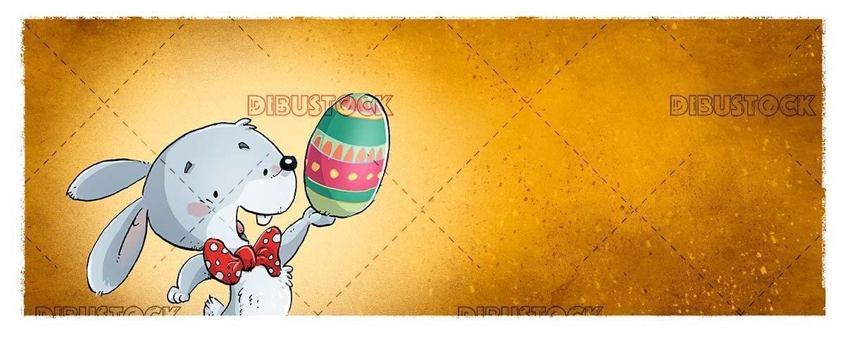 Funny easter bunny with colored egg in the paw and orange background  Easter   Funny easter bunny with colored egg in the paw and orange background  Easter rabbit egg chi...