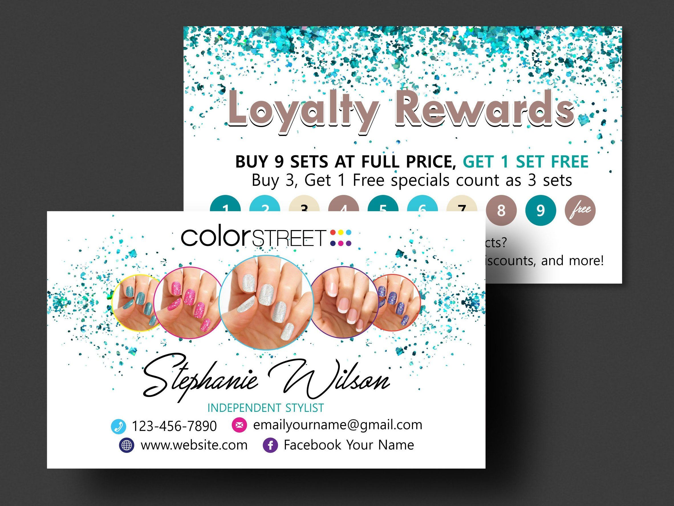 Color Street Loyalty Cards Printable Color Street Loyalty Rewards Template Colorstreet Business Cards Colorstre Printable Cards Color Street Color Street Nails