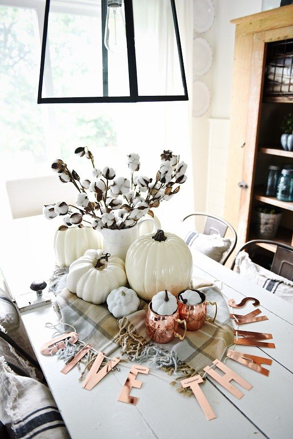 Neutral Copper Fall Centerpiece Fall Table Centerpieces Fall Dining Table Fall Table Decor