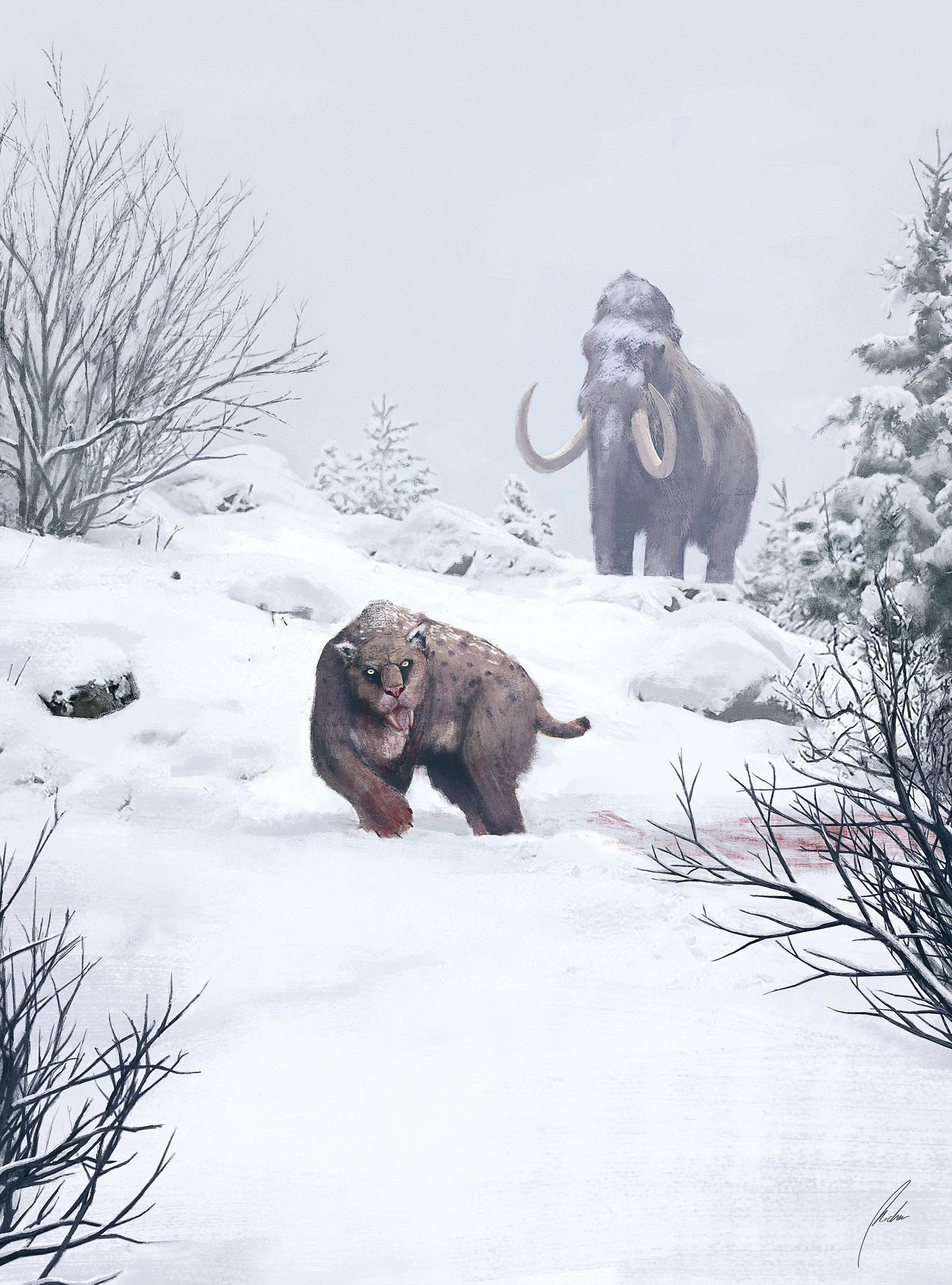 Woolly Mammoth and Smilodon by Michael Michera ...