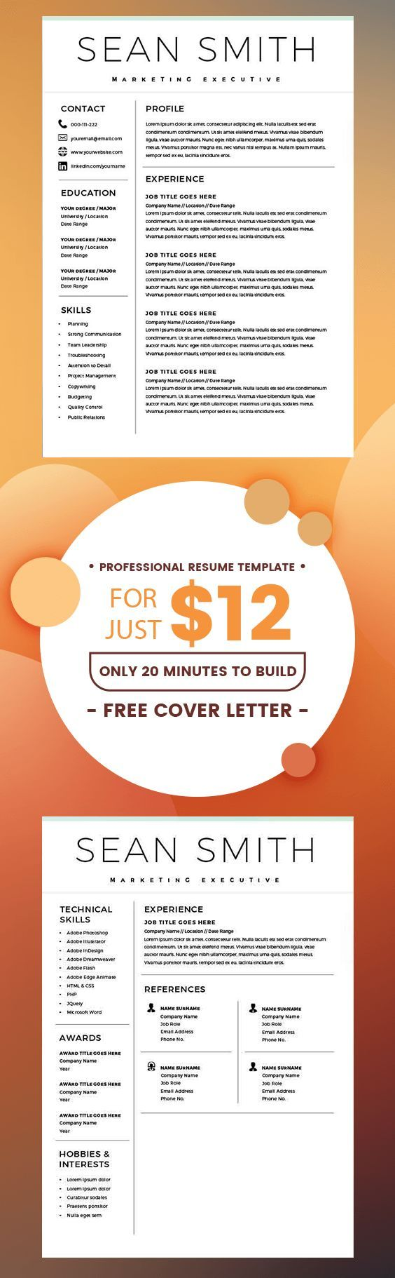 Word Resume Template - Resume Template for Word + Cover Letter ...