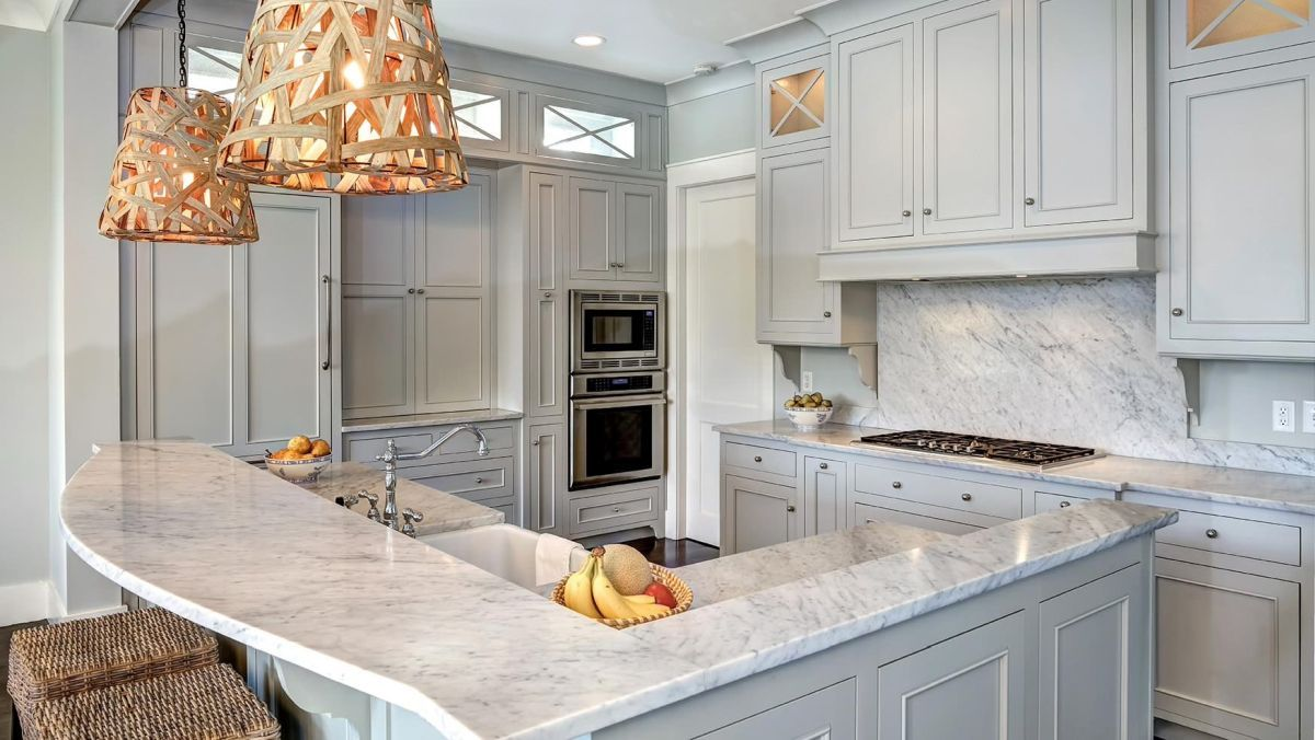 Gray Kitchen With Rattan Lighting Fixtures Home Decorating Trends Homedit Light Grey Kitchen Cabinets Light Grey Kitchens Grey Kitchen Designs