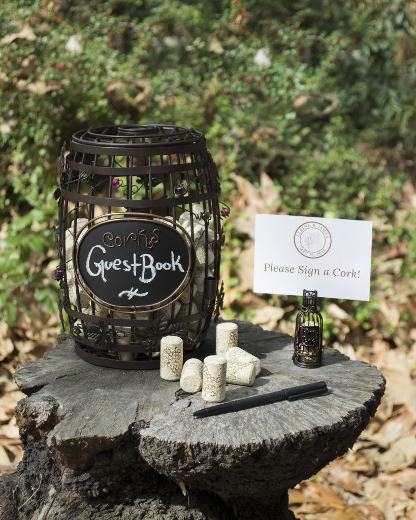 Wine Barrel Chalkboard Cork Cage Guestbook Idea For Vineyard Wedding.   Wine  Country Occasions,
