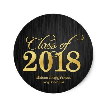 Elegant gold class of 2018 graduation classic round sticker graduation stickers diy cyo party