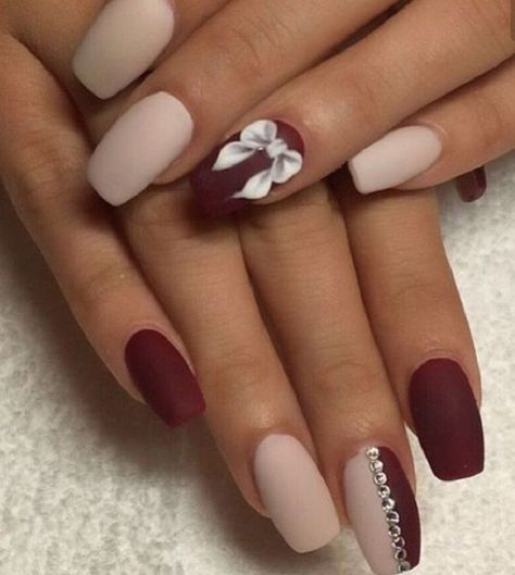 Loving the matte colors on this white and maroon nail art design. Matte  always… - 35 Maroon Nails Designs Maroon Nails, Maroon Nail Designs And