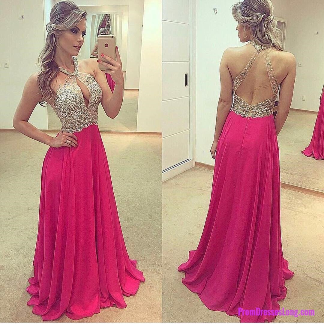 Halter prom dressesbackless prom gownschiffon evening dresseslong