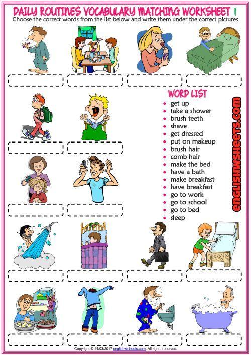 Resultado De Imagen Para Daily Routine Worksheet English Material