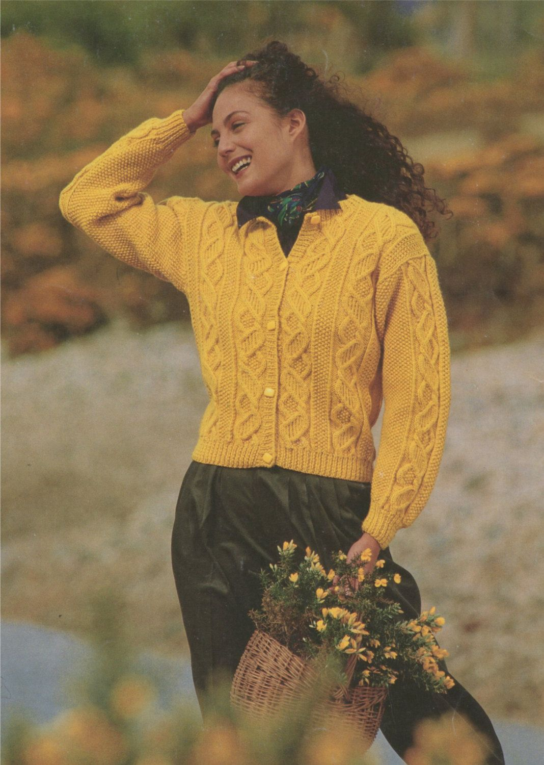Womens Aran Cardigan Knitting Pattern : Ladies 28 30 32 34 36 and 38 ...