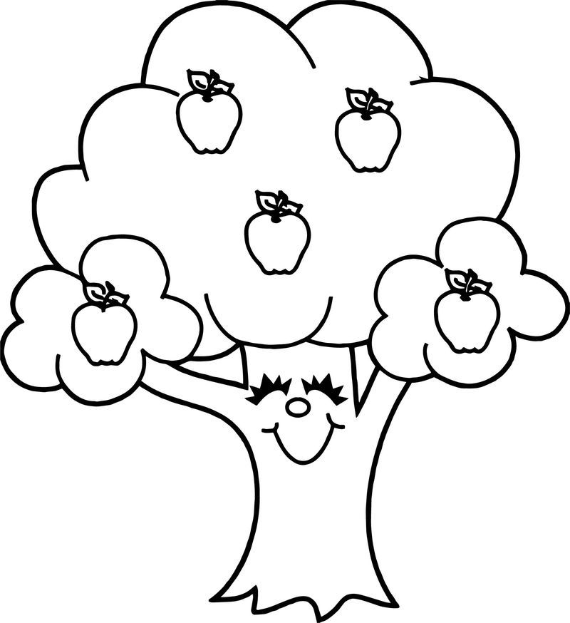 Funny Apple Tree Coloring Page Tree Coloring Page Apple Coloring Pages Emoji Coloring Pages