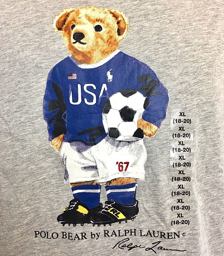 ad607c35939 Ralph Lauren Polo USA MLS SOCCER BEAR T-Shirt Top Gray Boys size XL 18-20  NWT 884733417782 | eBay