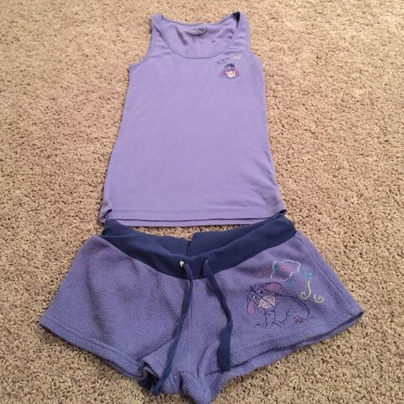 Eeyore pajama set Worn a few times in excellent condition! Purple fleece bottoms with eeyore stitched on the left thigh, and an eeyore stitched into the tank top Disney Intimates & Sleepwear Pajamas