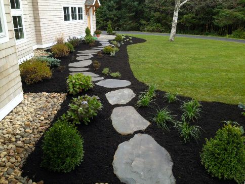 Project idea add black mulch and or stone to spice up for Dark brown landscape rock