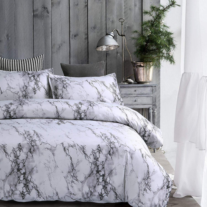 Amor Amore White Marble Comforter Gray Grey And White Comforter Set Super Soft Microfiber Bedding Marble Comforter Twin Size Microfiber Twin Lavorist Marble Bed Set Comfortable Bedroom Grey And