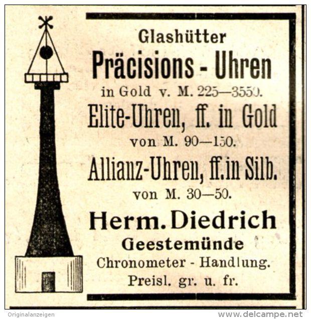 Original-Werbung/ Anzeige 1897 - GLASHÜTTER PRÄCISIONS-UHREN / DIEDRICH - GEESTEMÜNDE  - ca. 45 x 45 mm
