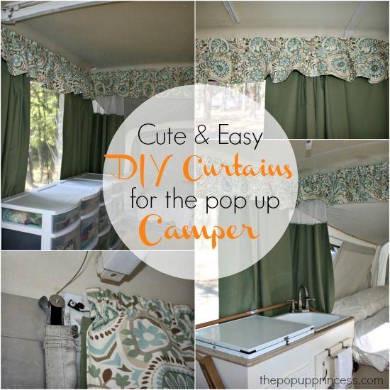 Pop Up Camper Makeover  The Curtains  Part 1. Pop up camper remodel  I love the colors here  lt  blue  poppy   a
