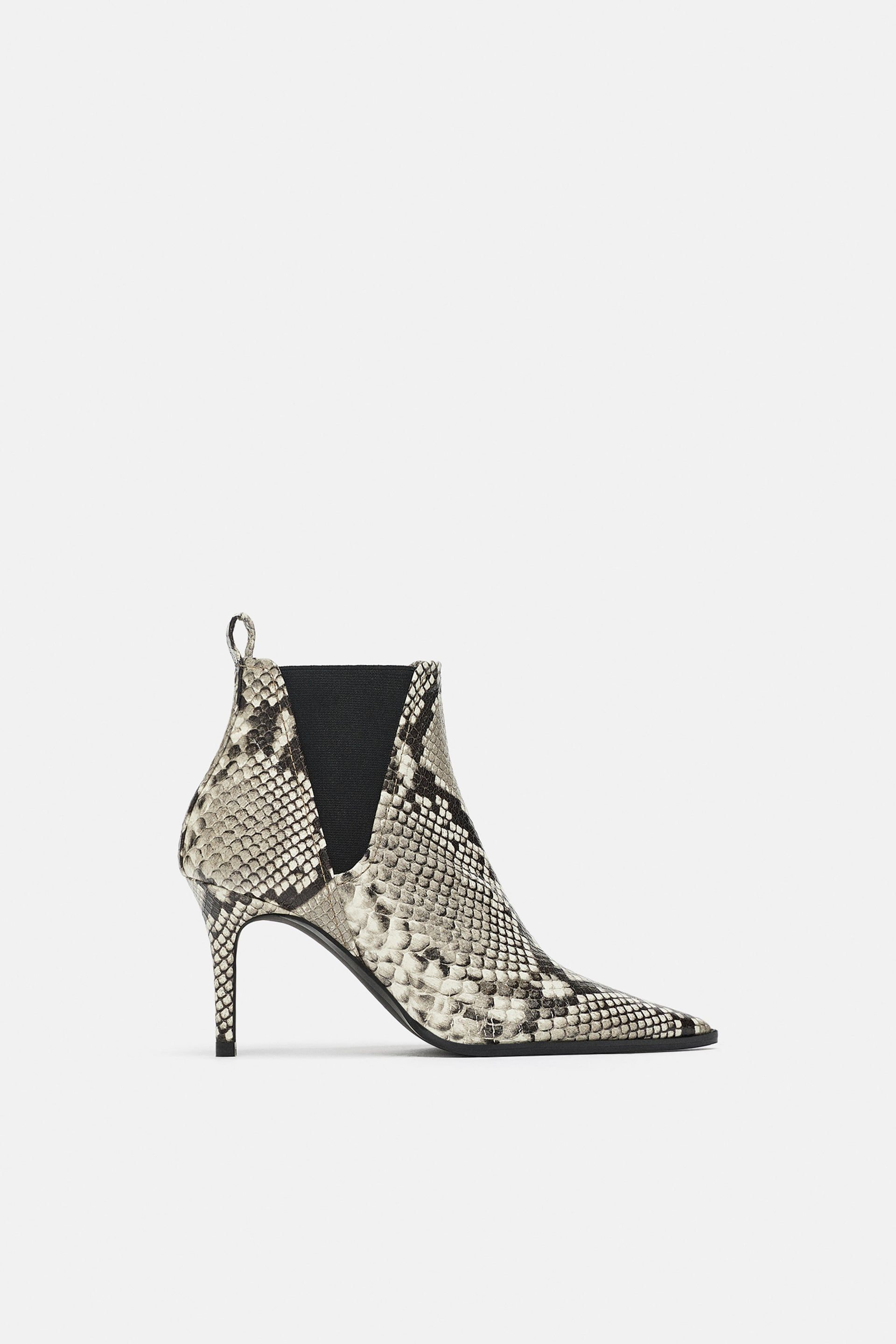 b22d4dd7739 Image 2 of SNAKESKIN PRINT HEELED LEATHER ANKLE BOOTS from Zara