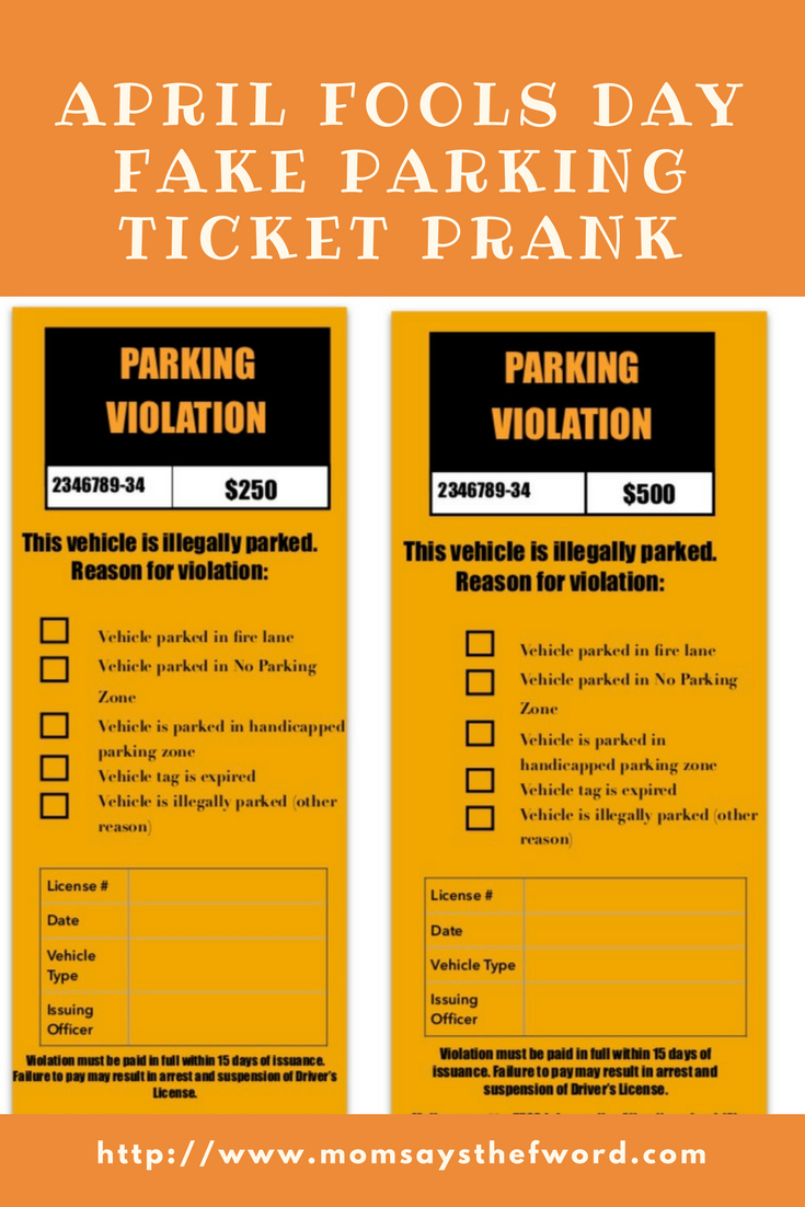 photo relating to Printable Parking Tickets identified as April Fools Working day Phony Ticket Prank - Lifetime Company