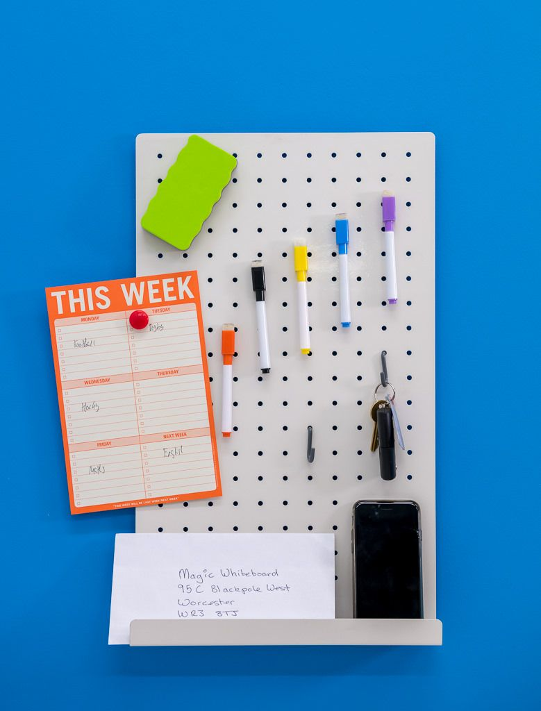 Stylish White Magnetic Office Pegboard From Magic Whiteboard Peg Board Pegboard Accessories White Pegboard