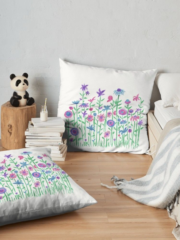 Cheerful spring flowers watercolor\' Floor Pillow by Anna Lemos