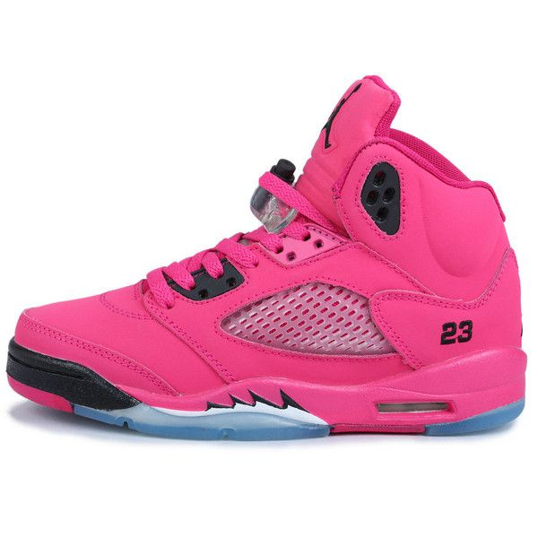 innovative design ebd8e 73b9d Air Jordan 5 RET+ Rose Noir Femme 136045-060 ❤ liked on Polyvore featuring  shoes