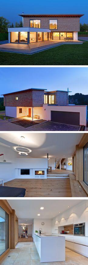 Einfamilienhaus Modern Mit Garage U0026 Pultdach Architektur   Architektenhaus  Bauen Mit Holz Fassade Und Kamin