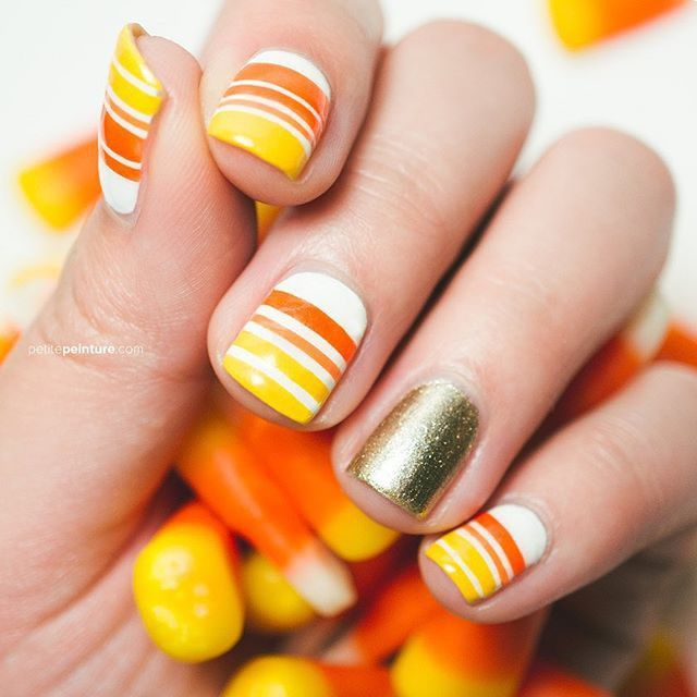 The cutest striped candy corn nails we ever did see by ...