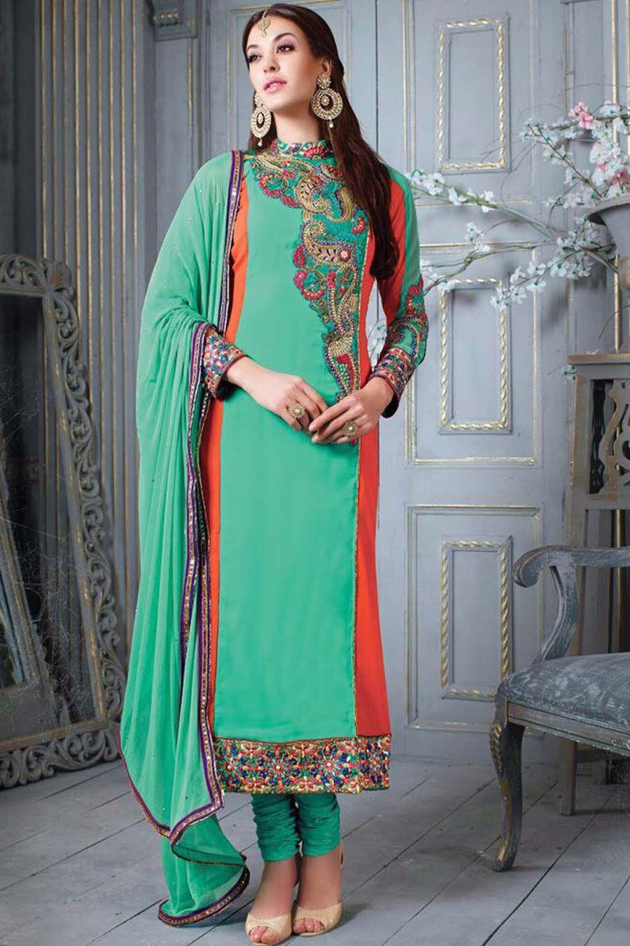 Green Georgette Semi Stitch Wedding Suit | Wedding Suits | Pinterest ...