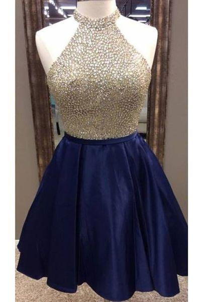 Dark Blue Satins Beading Sequins Halter A Line Short Prom Dresses