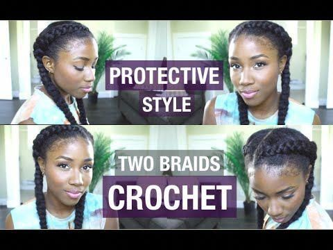 BACK TO SCHOOL HAIR STYLE | PROTECTIVE NATURAL HAIR STYLE | TWO BRAIDS | CROTCHET BRAID TUTORIAL - YouTube #twoBraided # Braids with weave cornrows #crotchetbraids