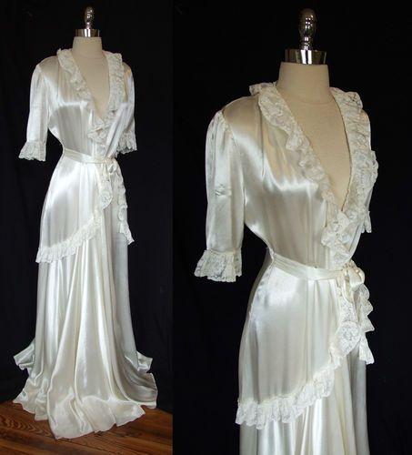 Vtg 30s 40s Ivory Satin Lace Bridal Peignoir Hostess Dress