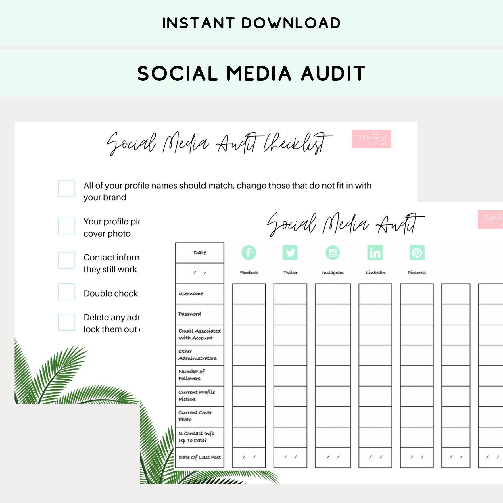 Social Media Audit Worksheet For Help With Social Media