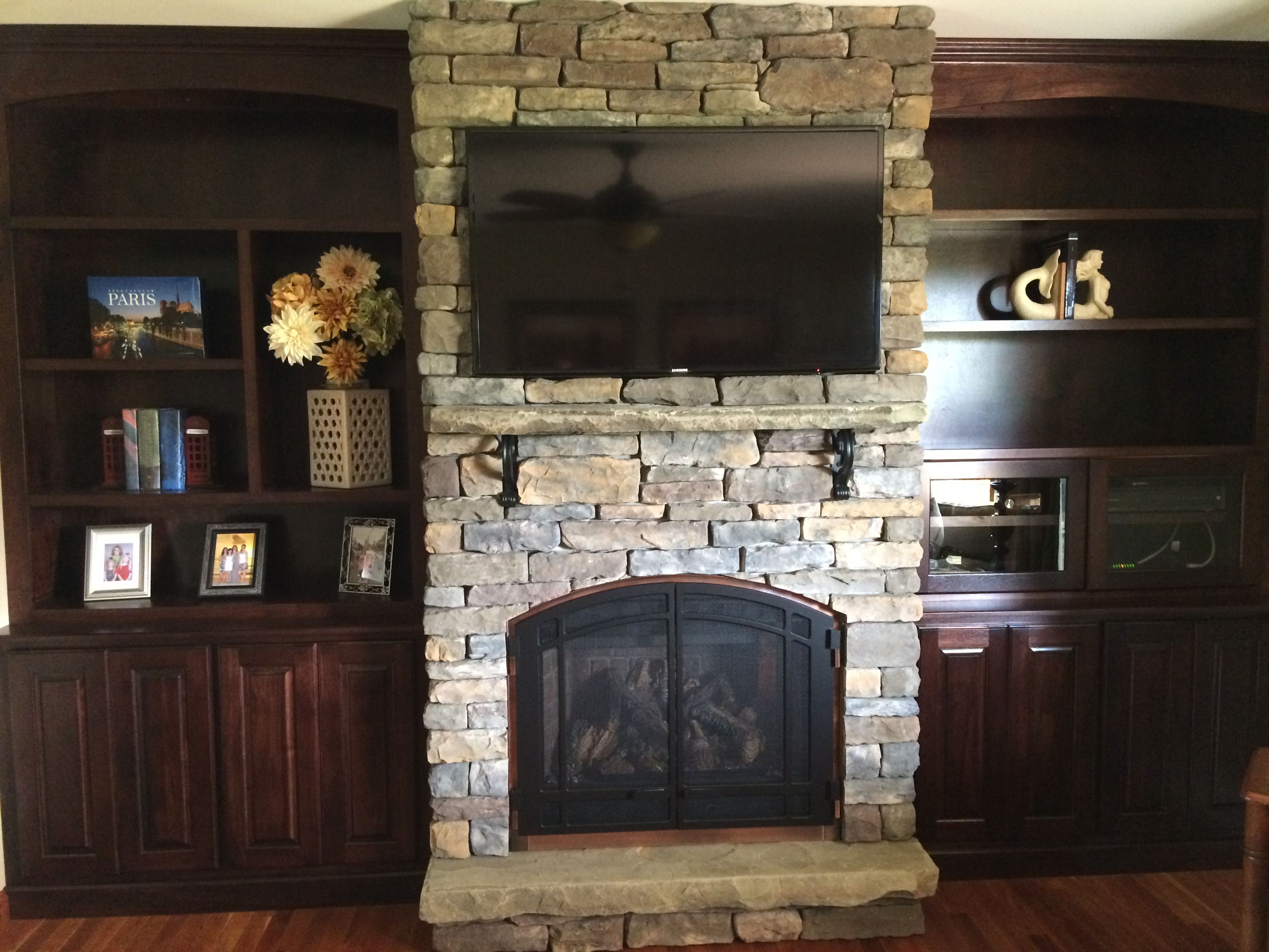 beautiful gas fireplace by mendota love the built ins stone rh pinterest com Gas Fireplace Complete Kits Gas Fierplace