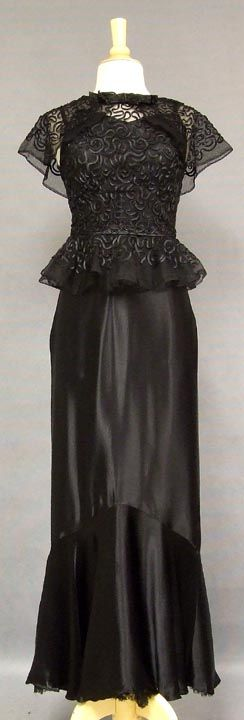 Delightful 1930's Satin Mermaid Gown w/ Appliqued Tulle Overblouse. Front