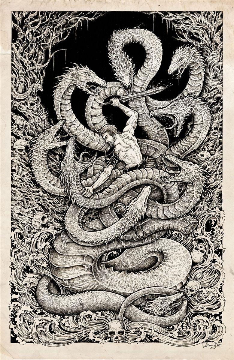 Greek Hydra Tattoo : greek, hydra, tattoo, Lernaean, Hydra, (Greek, Mythology), Mythology, Tattoos,, Greek, Tattoos