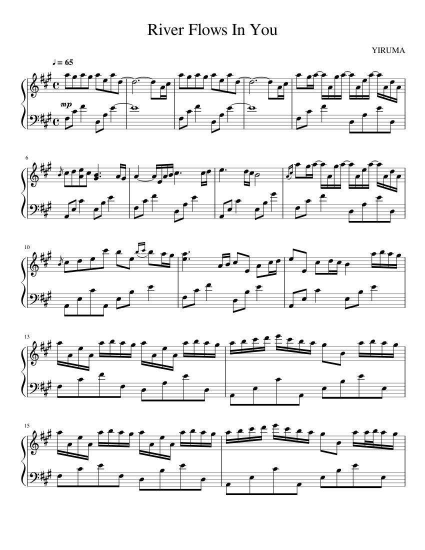 Print And Download River Flows In You Yiruma Sheet Music For