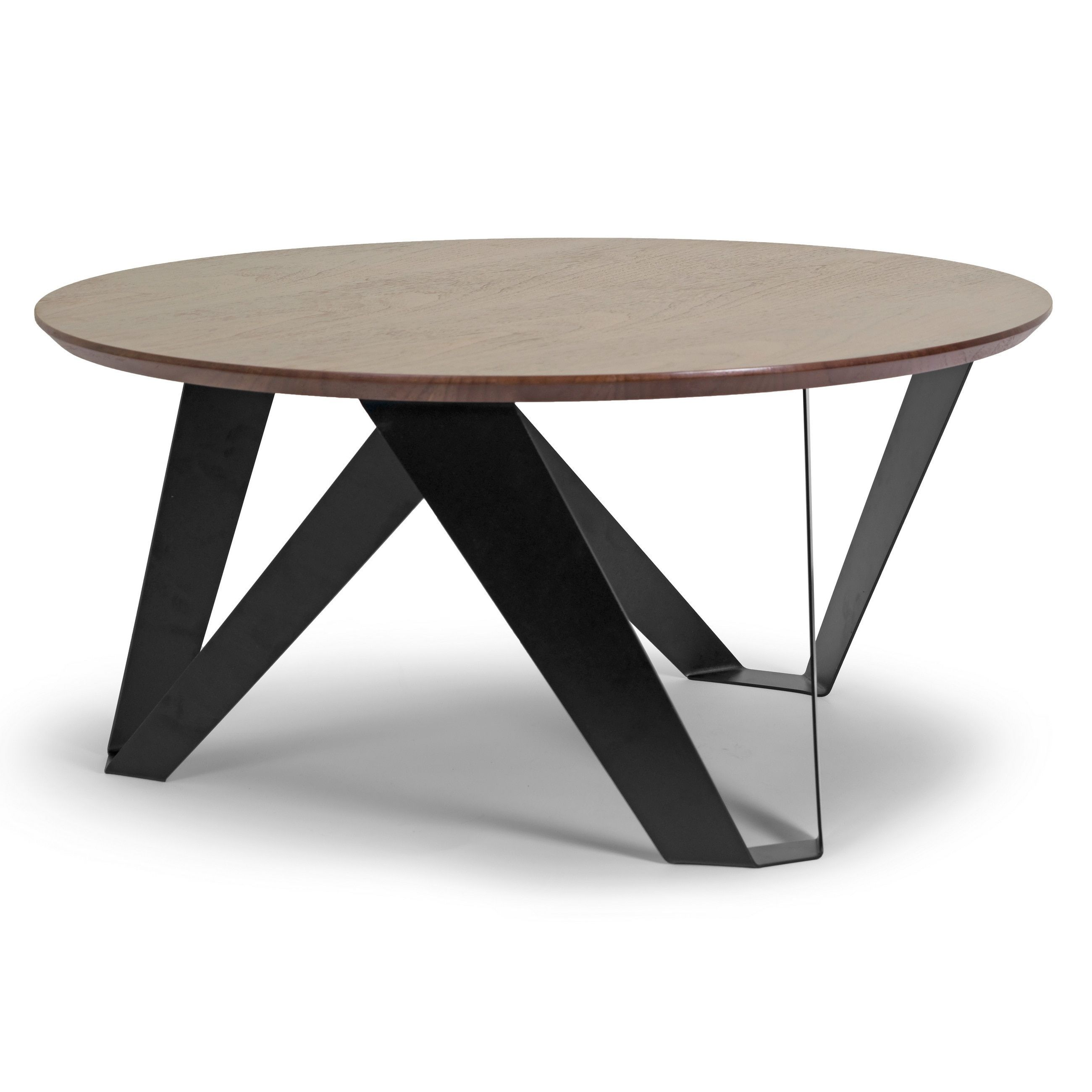 Glamour Aimi Walnut Finish Round Modern Coffee Table With Black Metal Legs