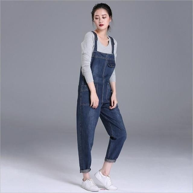 b8a0a4a20 European Style Boyfriend Women Denim Overalls High Waist Straps ...