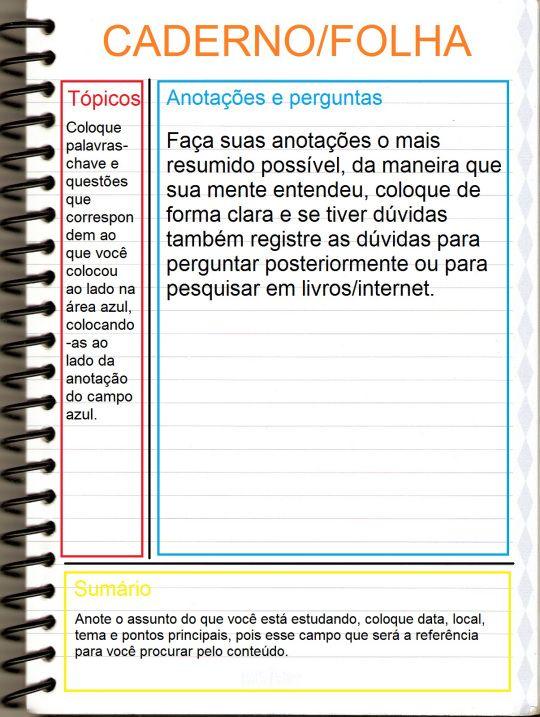 Metodo De Anotacoes Cornell Note Com Imagens Metodos De