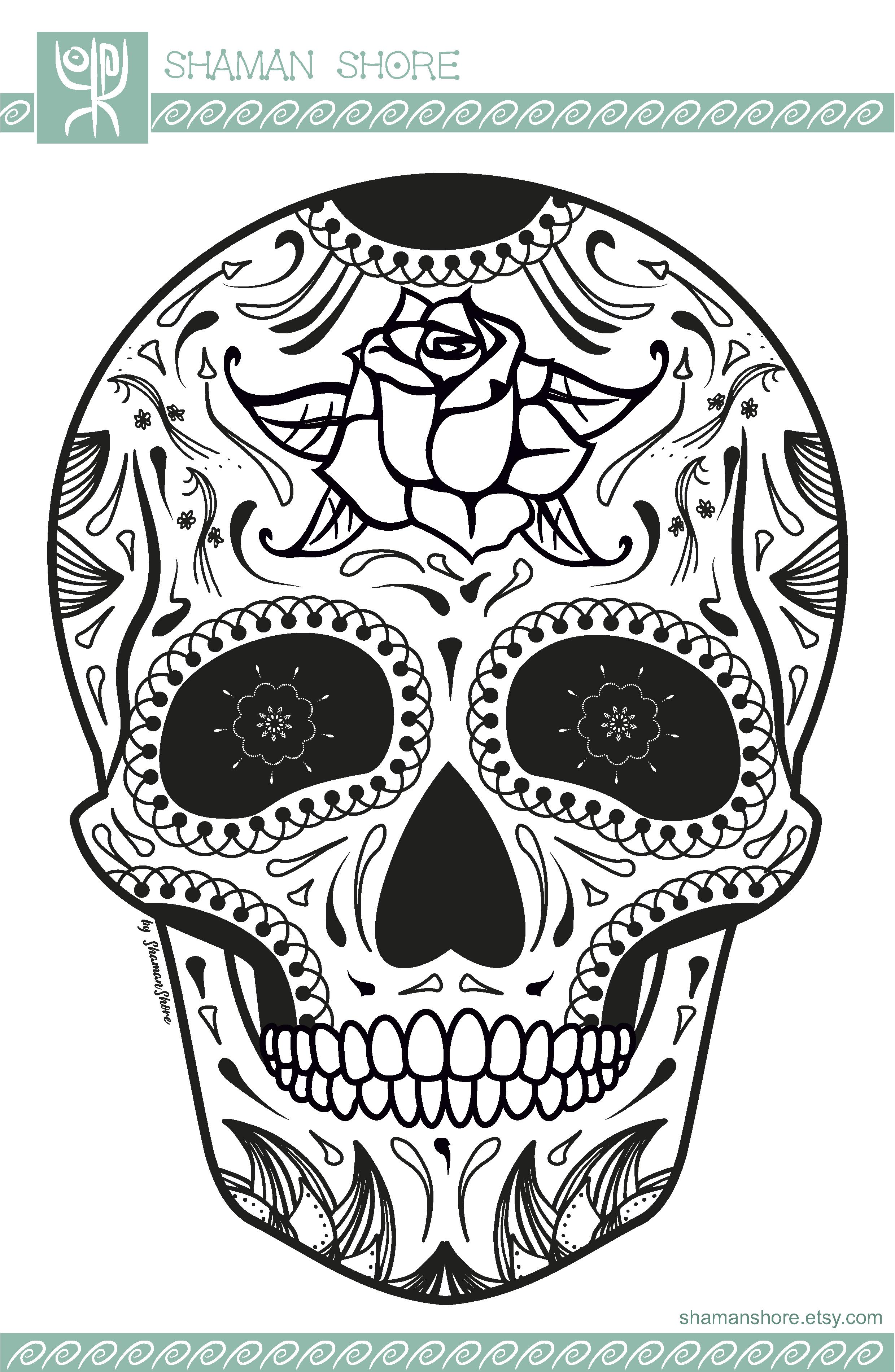 Skull Adult Coloring Book Pdf, 15 Sugar Skull Adult